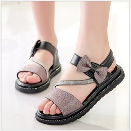 korean bow sandals NZ - Summer New Girls Leather Sandals Children's Sequins Flat Princess Shoes With Bow Korean Style Kids Girl Shoes Beach Sandals Size 26-37