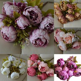 artificial flowers for hotels 2020 - 13 Heads European Style Fake Artificial Peony Silk Decorative Party Flowers For Home Hotel Wedding Office Garden Decor d