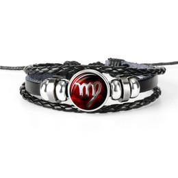 $enCountryForm.capitalKeyWord NZ - New Fashion Leather Rope Beaded Cuff Charm Bracelets For Womens Mens 12 Constellation Zodiac Virgo Time Gem Glass Cabochon Statement Jewelry