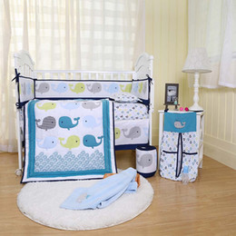Discount baby girl crib bedding sets - High Quality Crib Bumper sets Cotton Baby Organizer Baby Quilt Crib Bedding set for Boy Girl care 7pcs Embroidery 3D Wha