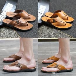 $enCountryForm.capitalKeyWord Australia - wholesale new Designer Mens Sandals Summer Stripped Slippers For Men Leather Flip Flop Summer Hawaiian Beach Rubber Shoe Male Flats Sandals