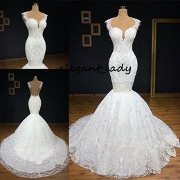 Castle models online shopping - Gorgeous Buttom Appliques Covered Sleeveless Scoop Wedding Dresses Luxury Lace Mermaid Arabic Castle Wedding Dress with Cathedral Train