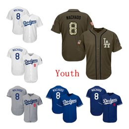 199e55613 Youth Kids Child Los Angeles Dodgers Baseball Jerseys 8 Manny Machado Jersey  White Blue Gray Grey Green Salute Players Weekend