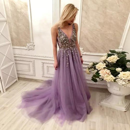 Wholesale custom art online for sale – custom Deep V Neck A Line Tulle Lavender Prom Dress Crystal Rhinestones Beading After Party Dresses with Sweep Train Formal Dresses Online