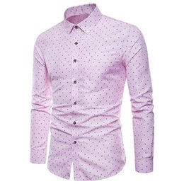 a6efd57f943 2019 Summer Mens Stylish Lapel Neck Comfy Tops Long Sleeve Button Down  Casual Formal Slim Fit Dress Shirt Blue Pink