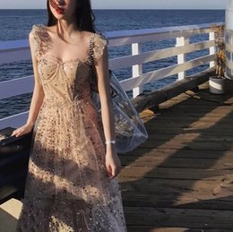 Luxury cocktaiL dresses online shopping - Brand Designer Luxury Manual Beaded Party Dresses Summer Fashion Women Rhinestone Straps Gauze Long Sequined Cocktail Prom Gowns