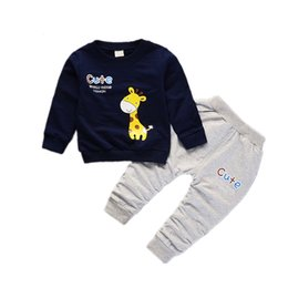 Baby Toddlers Pants UK - Spring Autumn Children Boys Girls Cartoon Giraffe Clothes Baby Pure Cotton T-shirt Pants 2 Pcs Sets Toddler Fashion