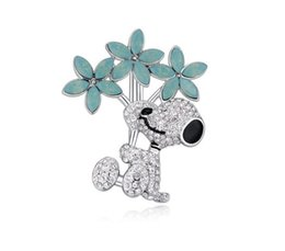 $enCountryForm.capitalKeyWord UK - Free shipping fashion jewelry Imported crystal ornaments Austrian Crystal Brooch Flower dog OL High-end Micro insert Pins female Brooches