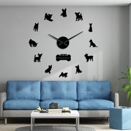 diy watches NZ - Mexico Dog Breed Chihuahua DIY 3D Acrylic Wall Clock With Big Clock Hands Mirror Effect Numbers Sticker Dog Pet Giant Wall Watch Y200110