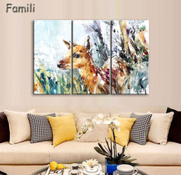 $enCountryForm.capitalKeyWord NZ - 3 Pcs sets large poster HD printed oil painting grassland deer canvas print art home decor wall art pictures for living room