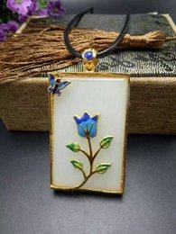 Jade Carved Flower Pendant Australia - Unique Fashion Natural White Jade Carving Cloisonne Pendant Necklace Wholesale