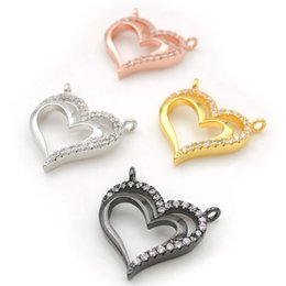$enCountryForm.capitalKeyWord Australia - 16*16*3mm Micro Pave Clear CZ Heart Charms Of Double Loops Fit For Making Necklaces Jewelry