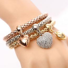 Silver Heart Bracelets For Women Australia - 3 Pcs Set Crystal Heart Charm Bracelet & Bangle Gold Silver Plated Love Heart Charms Rhinestone Bracelets For Women Jewelry