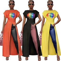 $enCountryForm.capitalKeyWord Australia - Womens blouse short sleeve lips print long plus shirt womens tops fashion women outerwear high split ladies tops 3 colors klw1897