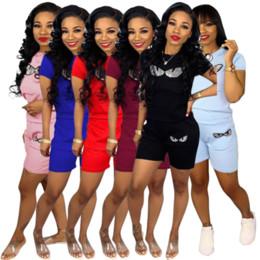 $enCountryForm.capitalKeyWord Australia - Women Sequins Tracksuit F Letter Eyes Short Sleeve T-shirt + Shorts 2PCS Set Summer Outfit Jogging Street Sports Home Suit Sportswear C3299