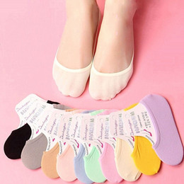 $enCountryForm.capitalKeyWord Australia - Casual Cotton Women Invisible Low Cut Ultrathin Cotton Boat Socks Non-Slip No Show Candy Color Socks Wholesales