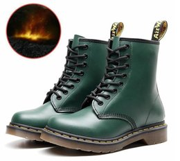 orange glitter shoes Australia - Women Boots Genuine Leather Ankle Martens Boots for Women Casual Dr. Motorcycle Shoes Warm Fur Winter Couple Shoes Zapatos Botas Mujer 44444