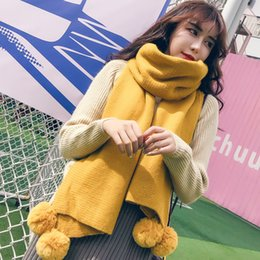 Wholesale winter white poncho resale online – Winter Women Solid Knitted Scarf Cashmere Poncho Scarves With Ball Pashmina Shawls And Wraps Bandana Female Foulard Y200103