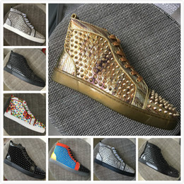 Gold Spiked Red Bottom Australia - Newest Red Bottom Sneakers Men Women Brand Designer Gold Snakeskin Leather With Studded Spikes High Top Casual Shoes Flats 35-47