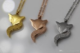 Fox Pendant Gold Australia - Titanium Steel Fox Pendant Necklace For Women's Beautiful Gifts