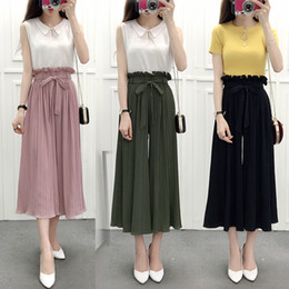 pleated wide leg chiffon pants Canada - Flounced Skirts Female Summer Thin Section Waist Chiffon Wide Leg Pants Pantyhose Loose Pleated Trousers Flared Trousers 013 Y19070101