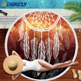 ADQKCLY Modischen Stil Runde Badetuch Mikrofaser Dreamcatcher Feder Gedruckt Badetuch Erwachsene Bad Tolla Decke 1 stück im Angebot