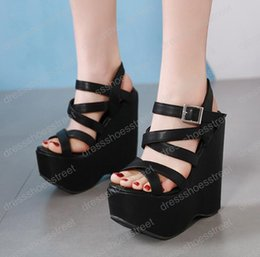 48be1ea4a18 16cm High Heels Platform Wedges Shoes Black High Heels With Cross Straps  Ladies Platform Shoes Gladiator Sandals Chunky Heels