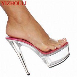 Heels Inches Australia - 15cm Transparent High-Heeled Sandals Crystal Slippers Open Toe Platform Women's Ultra High Heels Shoes 6 Inch Sandals