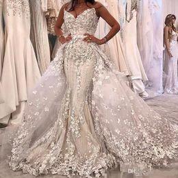 e803d0c7b31 New Luxury Beaded Mermaid Wedding Dresses With Detachable Train 2019 Modest  3D Floral Sweetheart Dubai Arabic Corset Princess Wedding Gowns