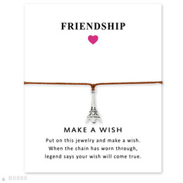 Jewelry france paris online shopping - The Eiffel Tower wish Wrap bracelets with Gift Card women France Paris architecture charm Wax rope Bangle For Men Fashion Jewelry