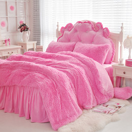 Wholesale Luxury Plush Shaggy Duvet Cover Bedding Set Soft Warm Faux Fur Quilt Cover Pillow Shams Bedskirt Sheet set Twin Queen King size