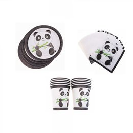 party decoration plates UK - Hot Panda Party Supplies Disposable Tableware Set Cup Plate Napkins Happy Birthday Wedding for Baby Shower Home Decoration