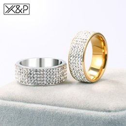 $enCountryForm.capitalKeyWord Australia - X&P Wedding Men Stainless Steel Crystal Gold Silver Rings for Women Female Male Engagement Fashion Classic Big Ring 2019 Jewelry