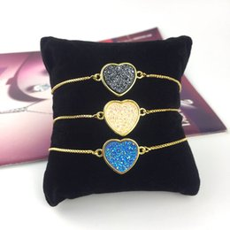 Rhodium Plated Silver Jewelry Australia - Kendra style Square natural druzy real drusy Heart bracelet Top designer bracelet jewelry brass rhodium silver gold plated cute