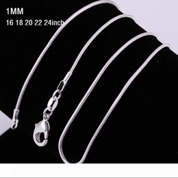 wholesale silver plated snake chains Canada - 1mm 16~24inch 925 Sterling Silver Snake Chain Necklace 925 Stamped Snake Necklaces For Women Fashion Jewelry Cheap Discount 1pcs