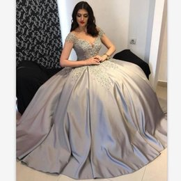 Silver Falls Australia - Fall 2019 Silver Evening Dresses Sheer Sleeves Beaded Lace Appliqued Bodice Ball Gown Prom Dresses Custom Made