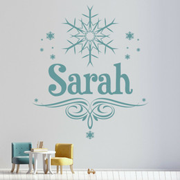personalised nursery wall stickers Canada - Snowflake Wall Decal Personalised Name Sticker For Girls Kids Room Home Decoration Accessories For Living Room Vinyl Decals