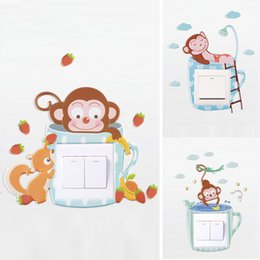 $enCountryForm.capitalKeyWord Australia - cute cartoon monkey wall silicone on-off switch stickers kids rooms light switch outlet home decorations 3d animal wall decals