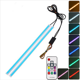 Led strip sLim online shopping - New Slim RGB Flowing Sequential Flexible LED DRL For Headlight Strip Daytime Running Lights with Remote Control cm