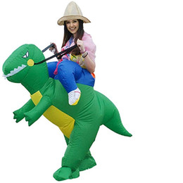 $enCountryForm.capitalKeyWord Australia - Inflatable Dinosaur Riding T-REX Costume Halloween Fancy Blow Up Mascot Costumes Dress Up for Teenager