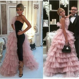 celebrities red carpet skirt Canada - 2020 New Arabic Jumpsuits Evening Dresses With Overskirt One Side Layered Tulle Skirt Celebrity Prom Gowns Women Formal Wear Party Dress