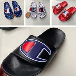 6971981f4fb1c Womens Champions Letter Sandals Men s Slipper Slip on Flip Flops Unisex  Wedge Mules Summer Sandal Beach Water Rain Shoes US 5.5-10 A42508