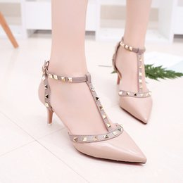 $enCountryForm.capitalKeyWord Australia - Lucky2019 Sexy Fine With Sharp One Buckle High-heeled Shoes Woman Patent Leather Rivet Single Shoe