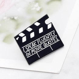 Silver collar pin online shopping - Movie Set Clapboard Brooches for Women I Speak Fluently In Movie Quotes Enamel Pin Denim Jackets Collar Badge Slate Board Icon
