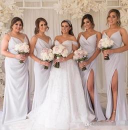 $enCountryForm.capitalKeyWord Australia - Sexy Straps Spaghetti Sheath Long Bridesmaid Dresses Ruffles Side Split Floor Length Maid of Honor Gowns Beach Wedding Guest Party Wear