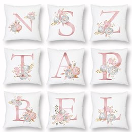 Paintings Name Australia - 26 English Letters Alphabet Baby Name Initials Cushion Covers Watercolor Painting Pink Flower LOVE HOME Cushion Cover White Soft Pillow Case