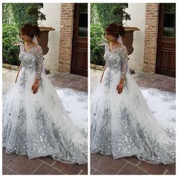 EuropEan modEls lacE drEss online shopping - 3 Long Sleeves Silver Lace Appliques A Line Wedding Dresses European Bridal Gowns Chapel Train Robe De Mariee Modest Vestidos De Marriage