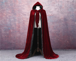 black red hooded cloak Canada - Wine Red Black Velvet Hooded Cloak Wedding Cape Halloween Wicca Robe Coat Christmas Medieval Velvet Hooded Cloak Wicca Witchcraft