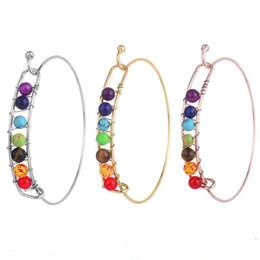 $enCountryForm.capitalKeyWord Australia - Yoga 7 Chakra wire Bracelet for Women Silver Gold Natural Stone Bangle Beads Reiki Spiritual Buddha Mens Fashion Jewelry Drop Ship