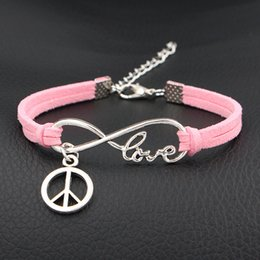 Love Peace Charms Australia - Hot Infinity Love Peace Symbol Round Accessorie Bracelets & Bangles Vintage Woven Light Pink Leather Suede Couple Jewelry Gift For Women Men